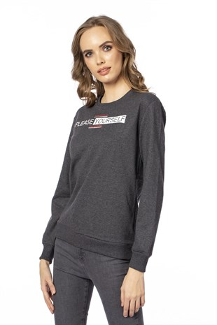 Please yourself baskılı sweatshirt-103BK020257 Koyu Ant. M.